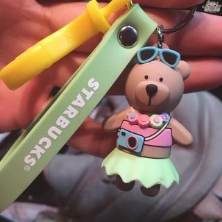 新款星巴克ins星小熊網紅鑰匙扣 星巴克韓國創意鑰匙扣 星巴克男女情侶包包可愛卡通汽車禮品掛件 懶豬家居 嘉義市