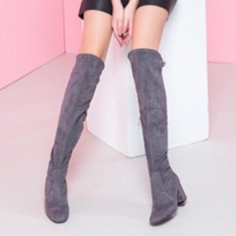 達芙妮過膝綁繩高跟長靴(全新)
