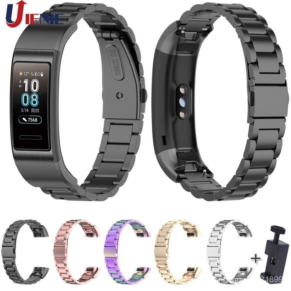 適用於 Huawei Band 3 Pro / Band3 / Band 4 Pro 手鍊錶帶豪華替換腕帶的不銹鋼錶帶,