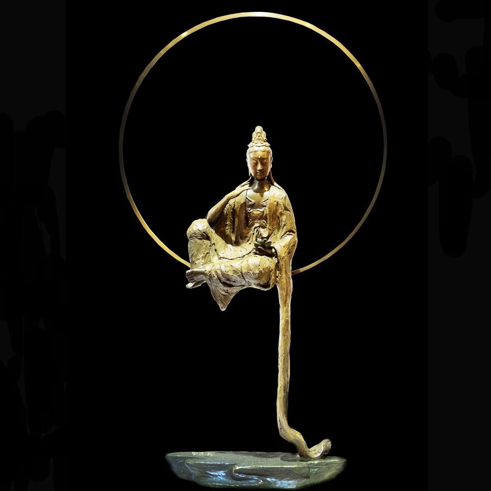 子問 限量原作觀音銅雕 映月 觀世音菩薩- 限量件數36 作品上有作者親自簽名限量件數 附作品典藏證明書7 kg