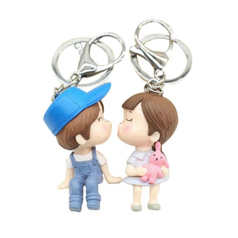 Mengxiang666公仔情侶鑰匙扣小飾品吊墜挂件合金鑰匙扣吊飾包汽車鑰匙扣