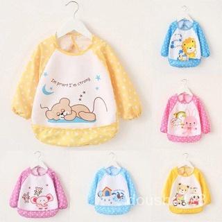 Se7en童嬰堡兒童長袖雙層防水圍兜 可愛嬰兒防水長袖反穿衣 圍兜 畫畫衣 罩衫 72ST
