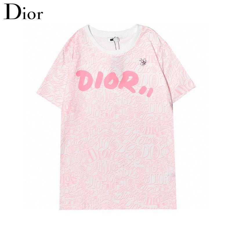Dior女生短袖TEE 迪奧短袖T恤 棉質T恤 印花短袖T恤 半袖圓領短袖 情侶短袖T恤 男T 女T 粉色短T 閨蜜T恤