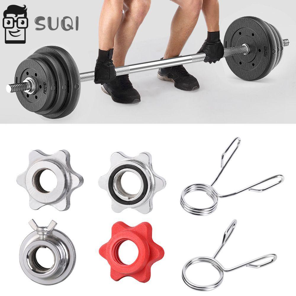 Suqi 鍍鉻啞鈴主鎖項圈鋼彈簧旋轉鎖螺絲槓鈴桿夾運動健身房奧運重量檢查螺母