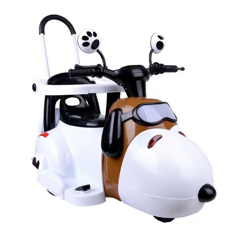 卡通狗史努比兒童電動車摩托車三輪車可坐人寶寶童車電瓶車玩具車