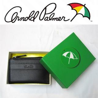 【Arnold Palmer雨傘】牛皮革打洞鑰匙零錢包(黑色)↘4.9折出清(最後一個) 台中市