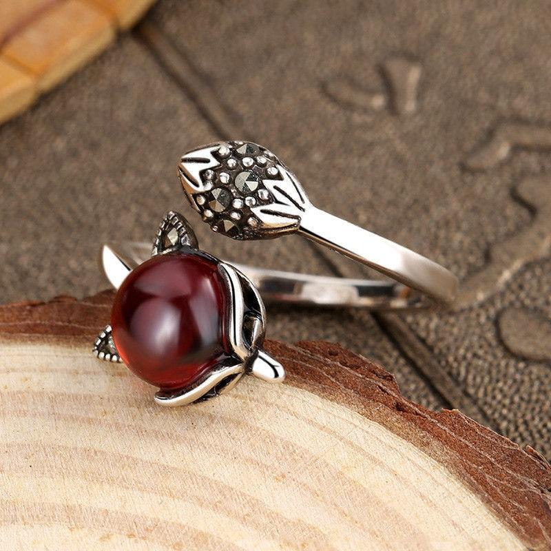 ◄❖▬石榴石狐貍戒指女純銀學生復古簡約ins不掉色個性指環可調節飾品