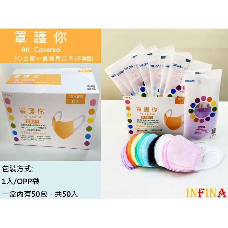 現貨 罩護你 3D立體醫療口罩(未滅菌) 兒童口罩(尺寸XS、S) 單片包裝一盒50入 台灣製 四層結構