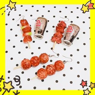 米可醬の粉色小屋*》手作飾品❤我要吃創意食玩燒烤BBQ串燒可樂趣味不對稱耳環(訂單滿$100出貨) 新北市
