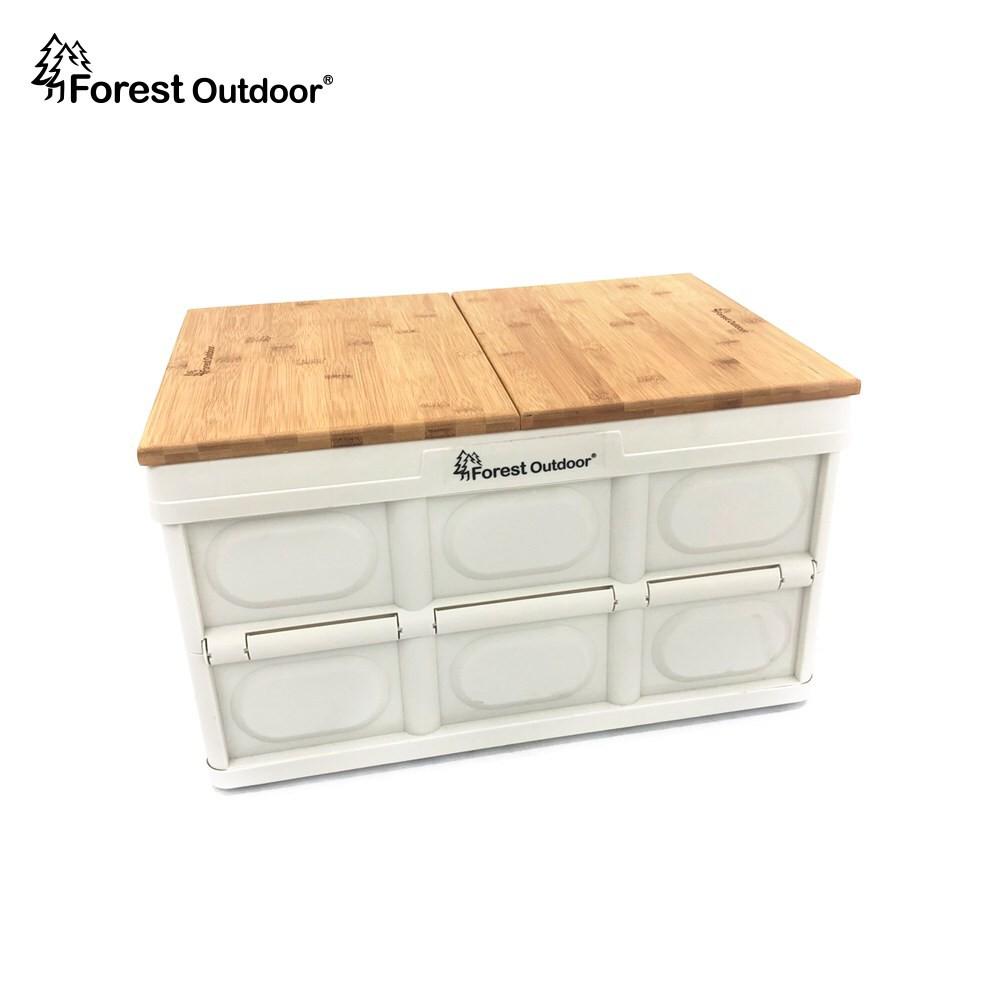Forest Outdoor 【白色魔術收納箱含竹桌板】耐重80KG 摺疊收納箱 折疊箱 露營桌【愛上露營】