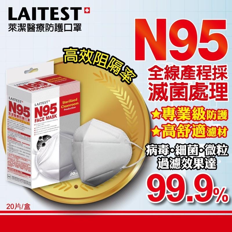 【過濾99%病毒】20片入萊潔N95醫療防護口罩(雪花白)