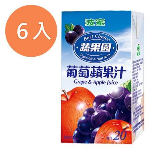 波蜜蔬果園葡萄蘋果綜合果汁飲料250ml(6入)/組【康鄰超市】