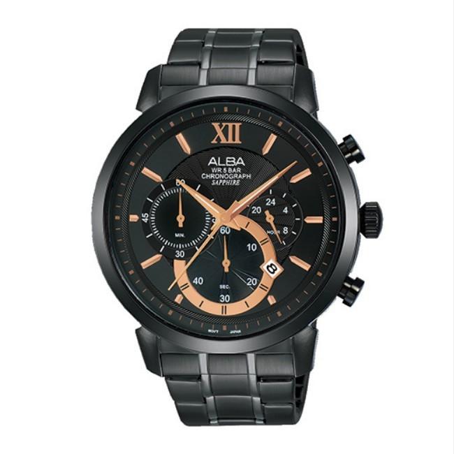 可議價 ALBA 雅柏 情人節對錶 男款 三眼水晶 石英腕錶(AT3D23X1) 44mm