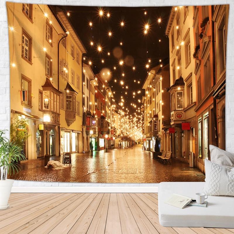 歐式小鎮街道圖案數碼印花掛毯背景布墻毯沙灘巾掛布