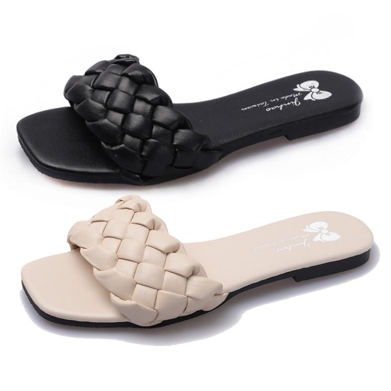【白鳥麗子】方頭鞋 MIT日系簡約素色麻花編織平底拖鞋