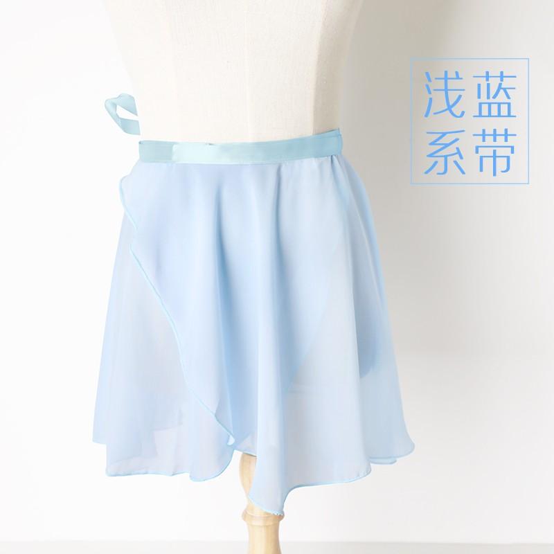 【熱銷】艾舞戈 芭蕾舞裙成人女系帶舞蹈練功半身紗裙兒童跳舞短裙雪紡一片裙 淺藍 S