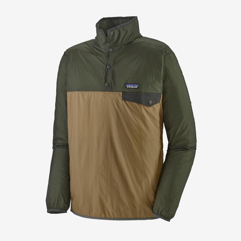 (二手)Patagonia M's Houdini Snap-T Pullover 男款經典半開襟風衣 卡其軍綠色 XS