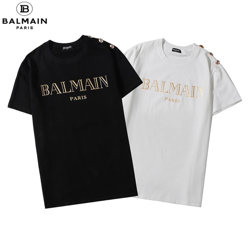 潮流品牌 BALMAIN 短袖 T恤 經典 黑底 金字 燙金 LOGO 金屬 鈕扣 上衣 T恤 短T 男女生同款