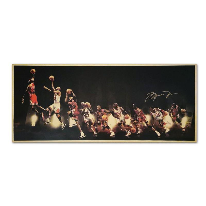 現貨]麥克喬丹 MJ 經典籃球海報 nba 芝加哥公牛球星 JORDAN 裝飾畫臥室宿舍客廳牆畫 復古牛皮紙海報咖啡廳