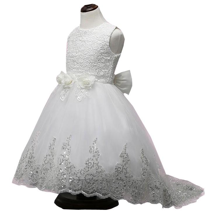 童裙 秋款蕾絲花朵兒童禮服公主拖尾連衣裙 女童婚禮裙 4 - 12歲