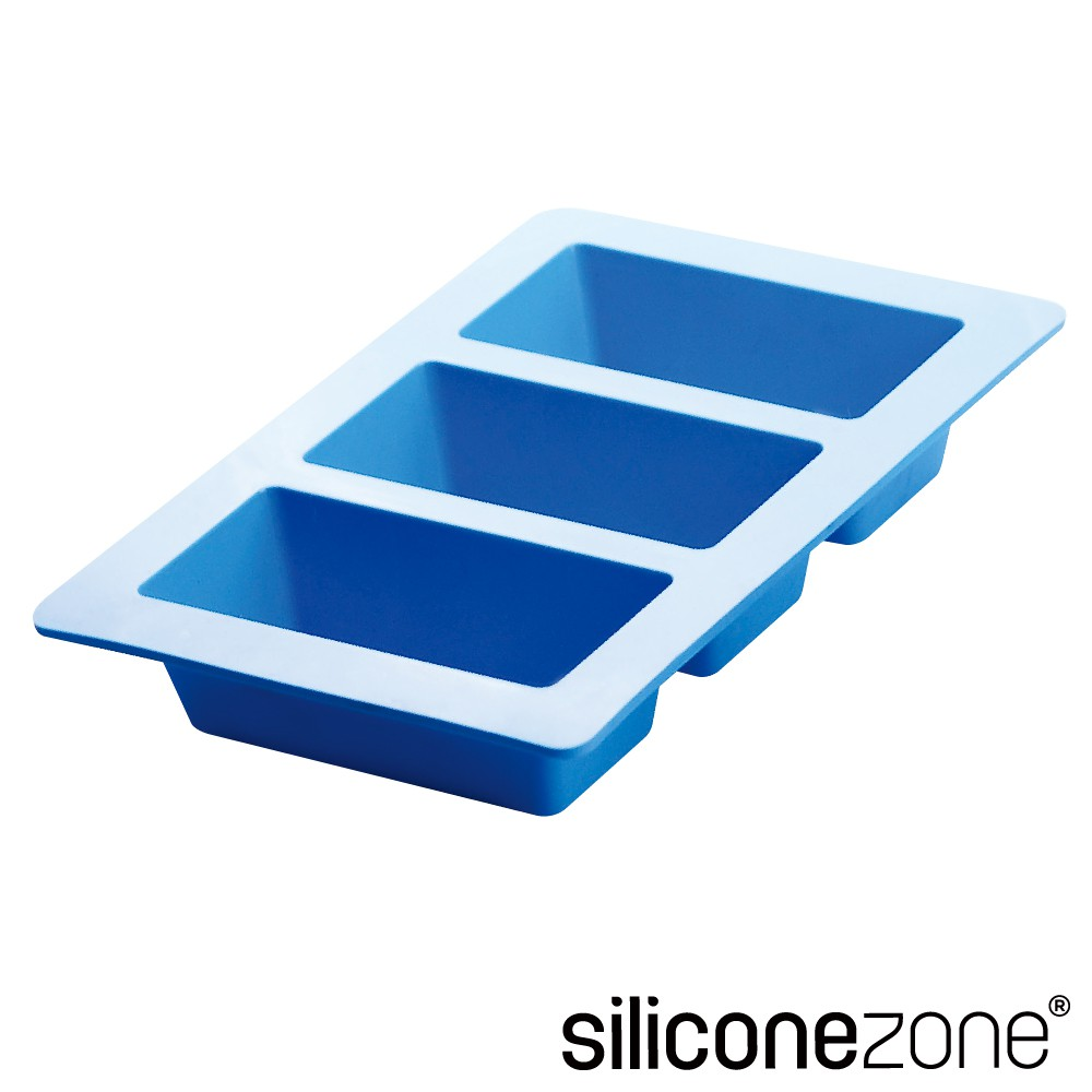 【Siliconezone】高品質食品級 施理康 耐熱矽膠3格條型蛋糕模(CM-05188-AZ)