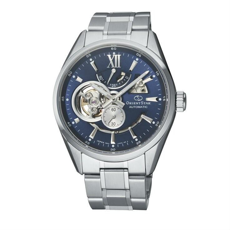 ORIENT 東方錶 (RE-AV0003L) OPEN HEART系列 鏤空機械錶 鋼帶款/藍 41mm