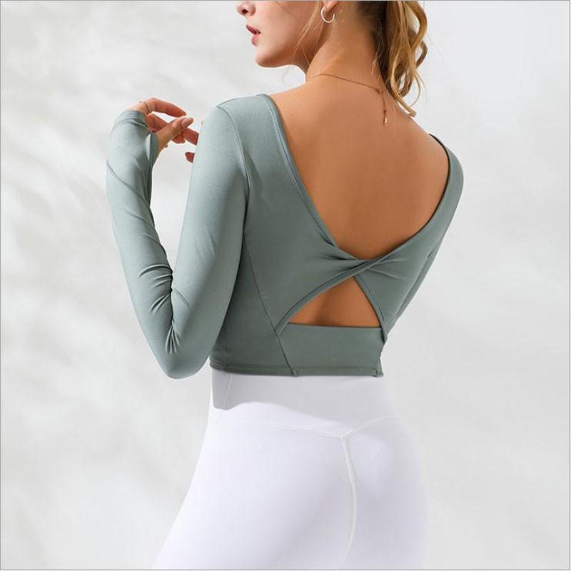 【舒亦美】秋季新款扭曲後背鏤空長袖運動上衣瑜伽服 帶胸墊彈力緊身跑步訓練健身服運動長袖