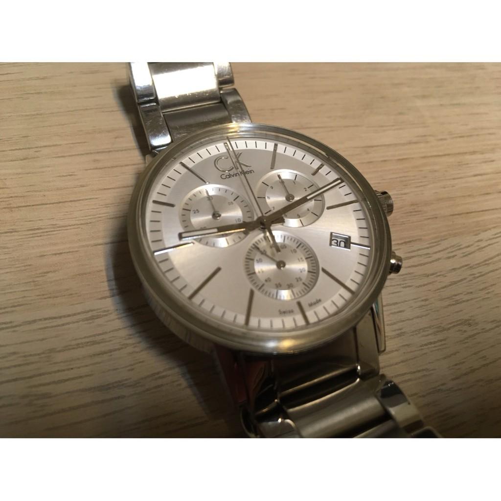 Calvin Klein CK 凱文克萊 金屬不鏽鋼銀色錶面銀色錶帶三眼男錶 日期窗顯示 三眼計時功能 三眼錶