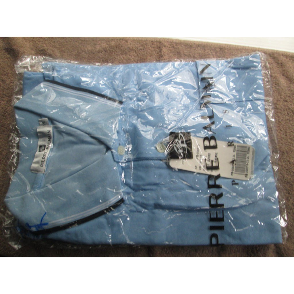 全新短袖POLO襯衫(型號2L,棉+聚脂纖維,淺藍色,吸濕排汗)~巴黎Pierre Balmain品牌(原價2980元)