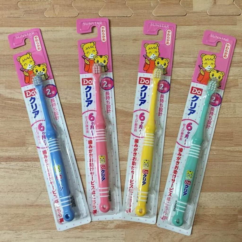 日本進口 SUNSTAR 巧虎牙刷 兒童牙刷 軟刷毛 第一階段6M~2歲 藍/綠/粉/黃 四色隨機出貨