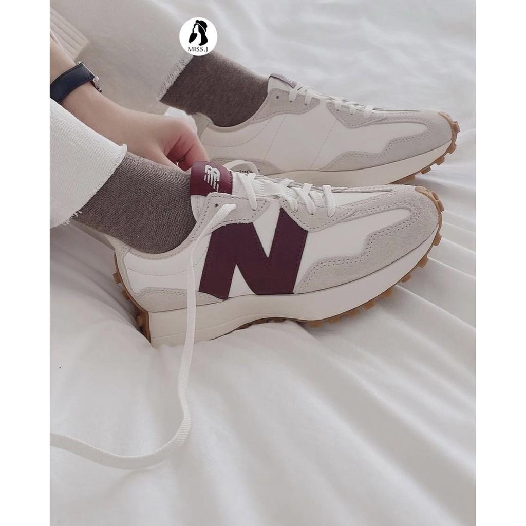 MJ▸ New Balance 327 奶油白 酒紅 皮革 增高 復古 MS327KA 男女款