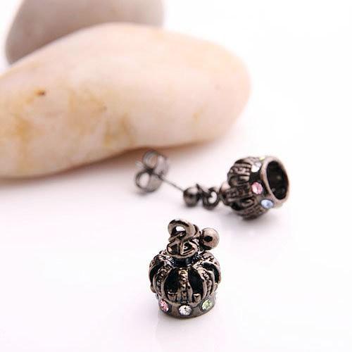 精靈工廠皇冠水晶鑽飾耳環L0068-3
