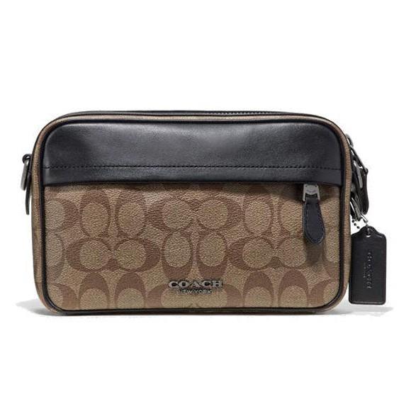 【COACH】F50715 QBTN2 GRAHAM CROSSBODY 防刮皮革 側背包 手拿包 (咖啡) 化學原宿