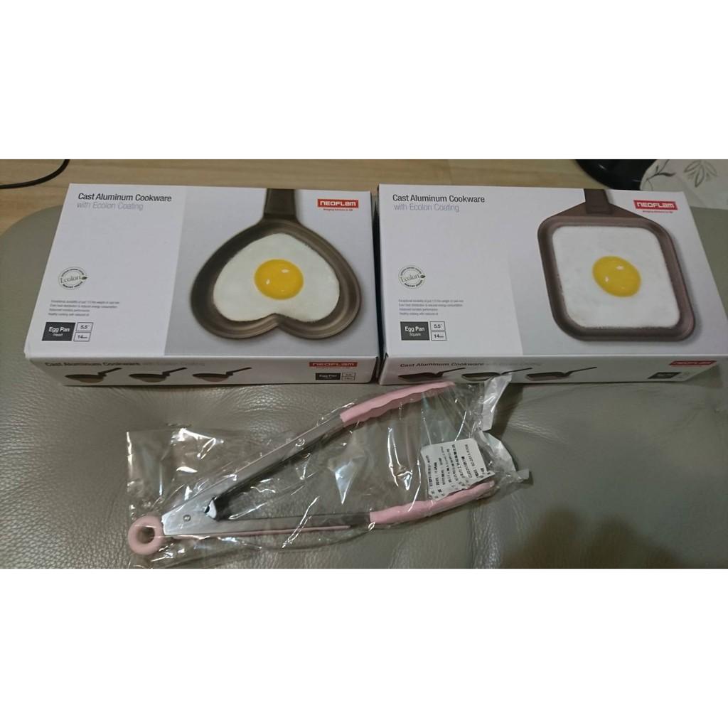 全新韓國NEOFLAM韓式陶瓷蛋捲鍋14cm(1個粉色愛心-1個綠色方型)+矽膠料理夾
