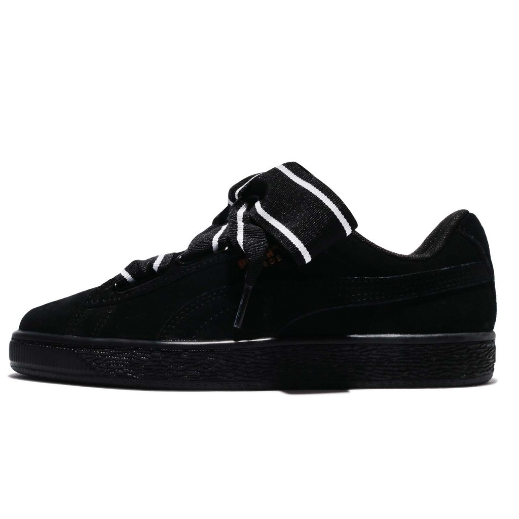 Puma 休閒鞋 Suede Heart Satin II 黑 白 女鞋 麂皮 緞帶鞋 364084-01【ACS】