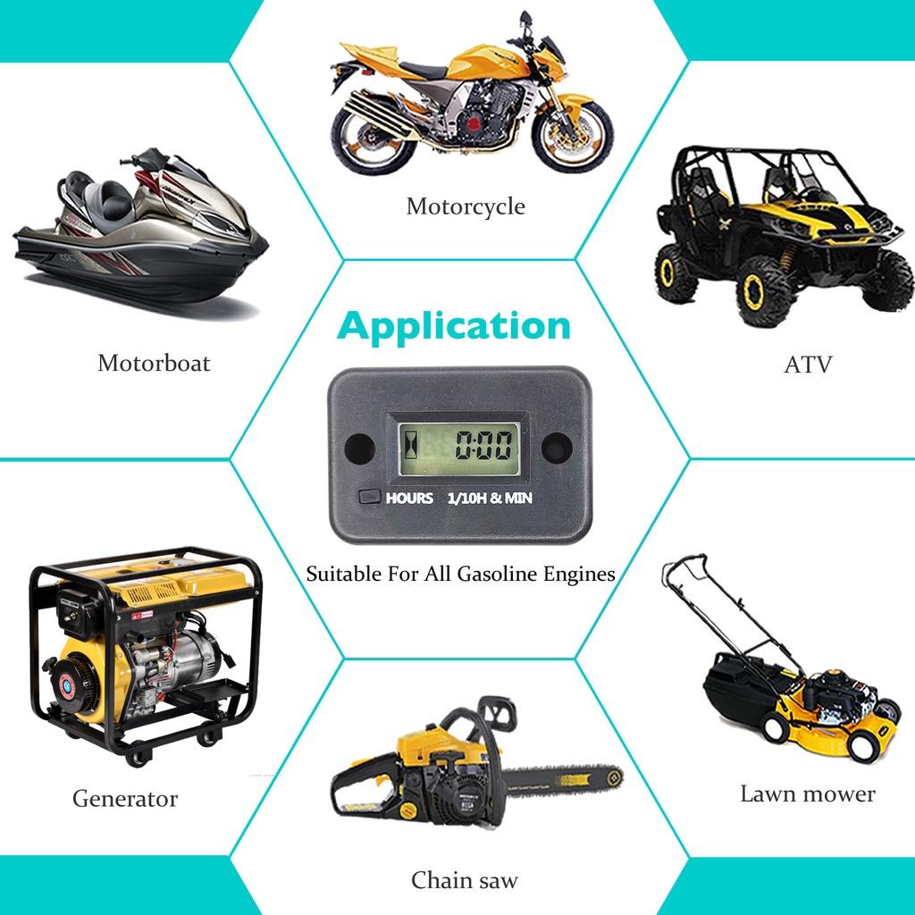 【現貨速發】累時器 機車 摩托艇 沙灘車 割草機 計時錶 LCD 感應式累時器 可重置 計時器帶線 Hour Meter