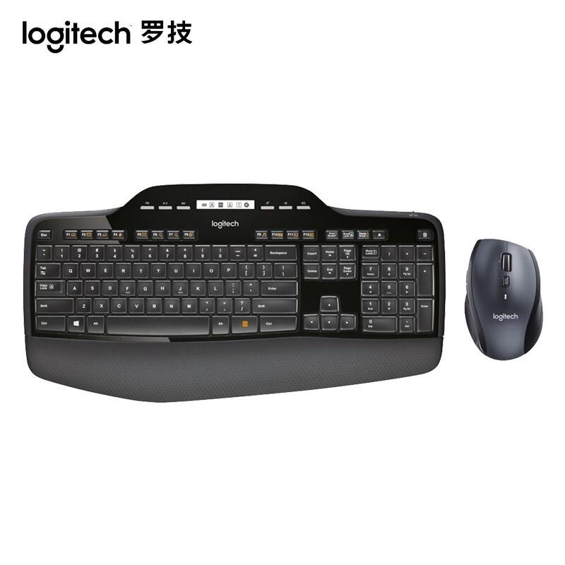 羅技(Logitech) MK710無線鍵鼠套裝 全尺寸 商務辦公套裝 優聯接收器舒適掌托 MK710無線鍵鼠套裝 mL