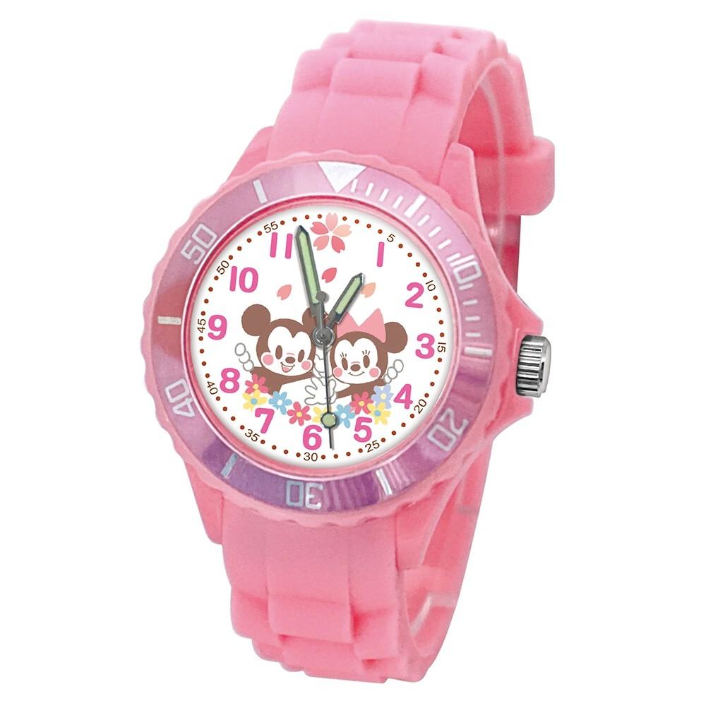 【Disney迪士尼】櫻花季限定運動彩帶手錶_米奇米妮(粉/中型)