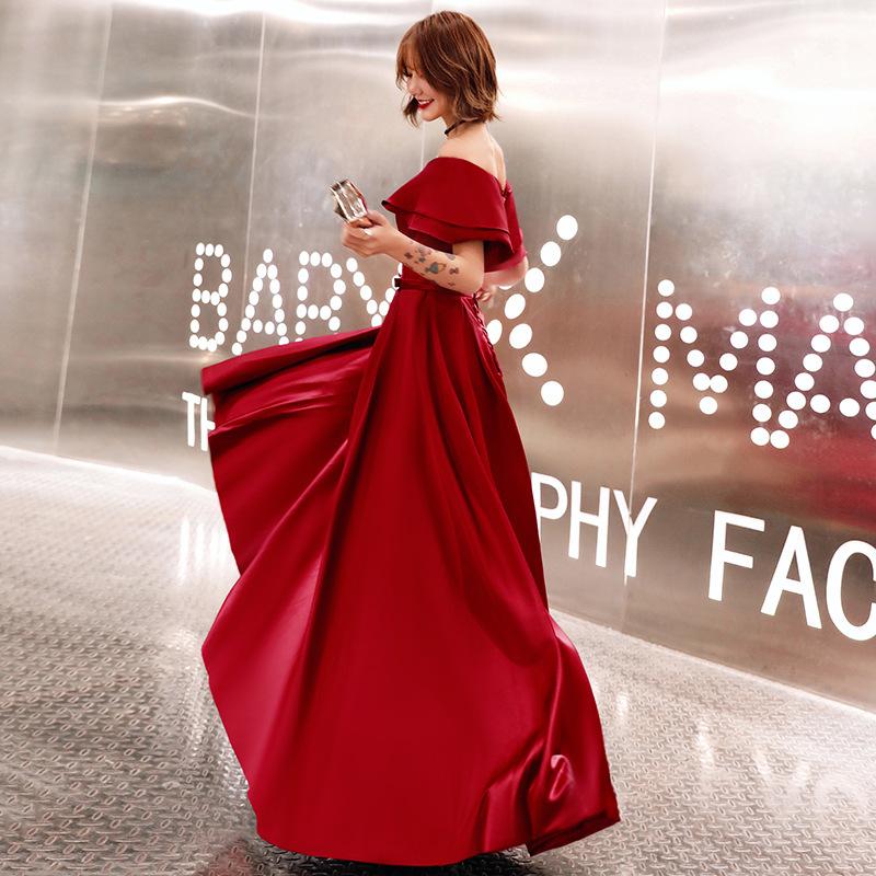 一字領長洋禮服 酒紅色晚禮服 新娘結婚禮服 敬酒服2020新款 宴會高貴優雅長款連身裙 一字肩緞面晚禮服裙 酒會晚禮服