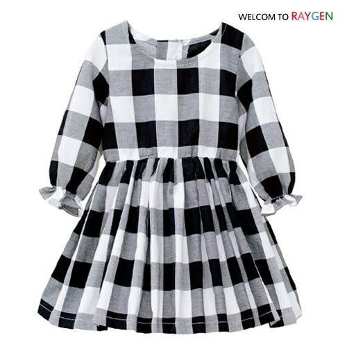 【2F152Y199】 女童黑白格子長袖連身裙 洋裝