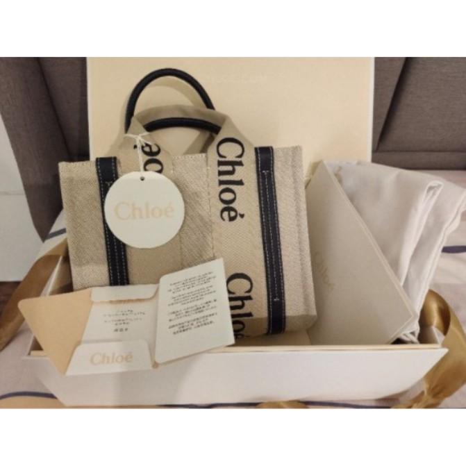 全新專櫃正品 Chloe Woody tote 托特包 焦糖 咖色 藍色 現貨 棕藍黑 三色可選