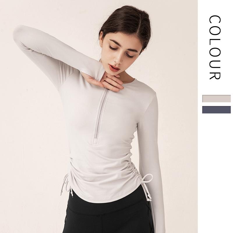 Running Girl 新款歐美日韓半拉鍊瑜伽服 女士跑步運動上衣長袖透氣速乾緊身健身服