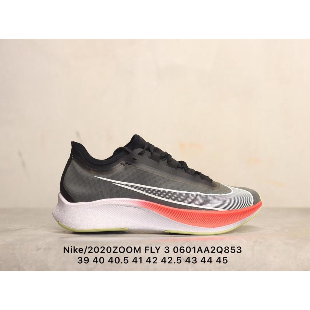 耐吉Nike ZOOM FLY 3男子馬拉松緩震回彈跑步鞋 黑 簡約 休閑 慢跑鞋