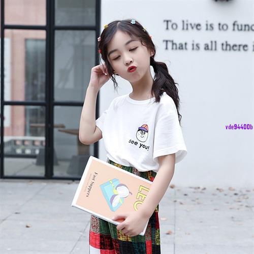 《免运》女童韓版個性字母T卹2021中大童洋氣潮流短袖夏季新款百搭打底衫