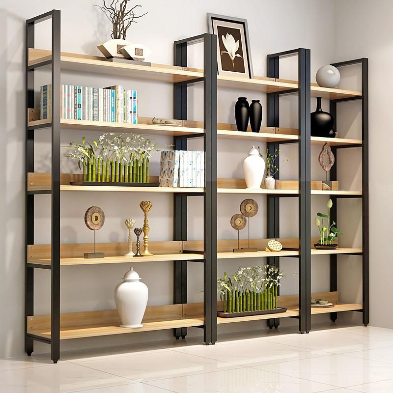 家用鋼木書架書櫃置物架書架多層書櫥組合收納架儲物櫃貨架展示架免運-月