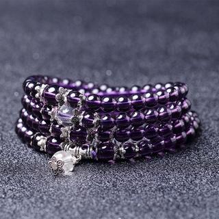 ▪♀開光 紫水晶手鏈 3圈紫水晶手串 多圈紫水晶手鏈 108顆佛珠手串 情侶款 6mm 水晶手鏈