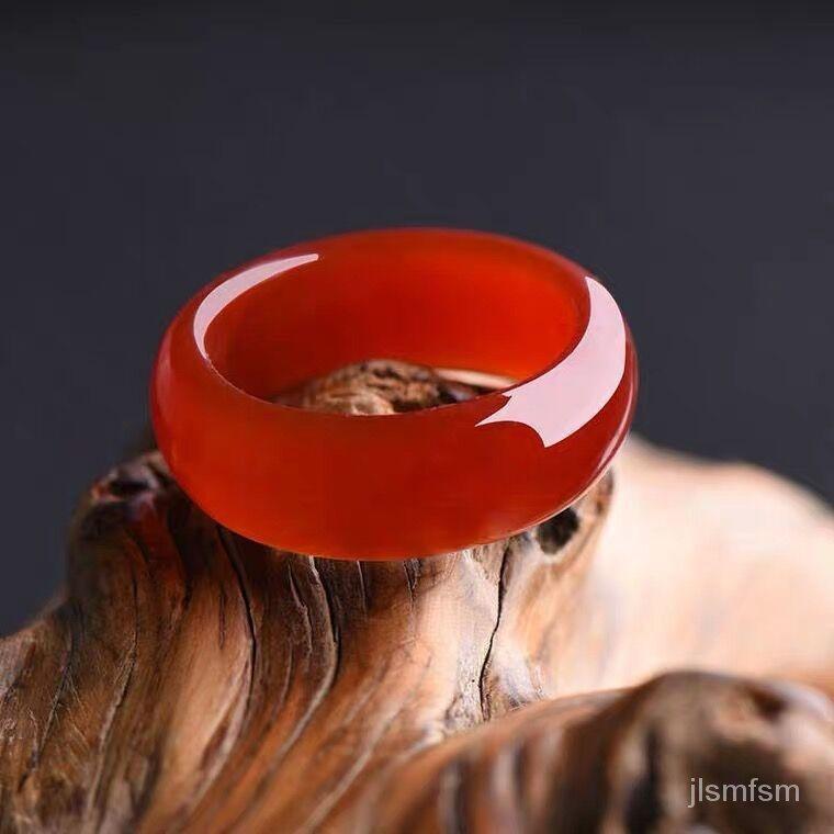 現貨🔥【珠紅玉潤】  天然紅瑪瑙本命年招財轉運扳指玉髓戒指男女情侶款