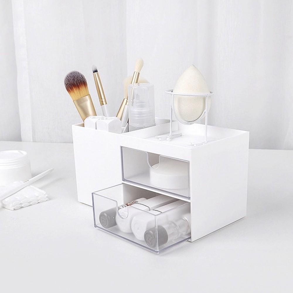 純白無印風格 塑膠桌上收納盒