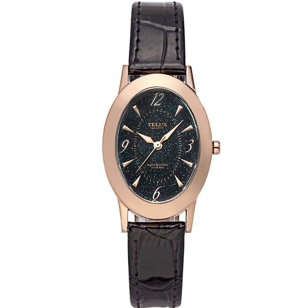 台灣品牌手錶腕錶【TELUX鐵力士】晶漾璀璨女腕錶手錶35mm台灣製造石英錶85336BK-P 皮帶黑面
