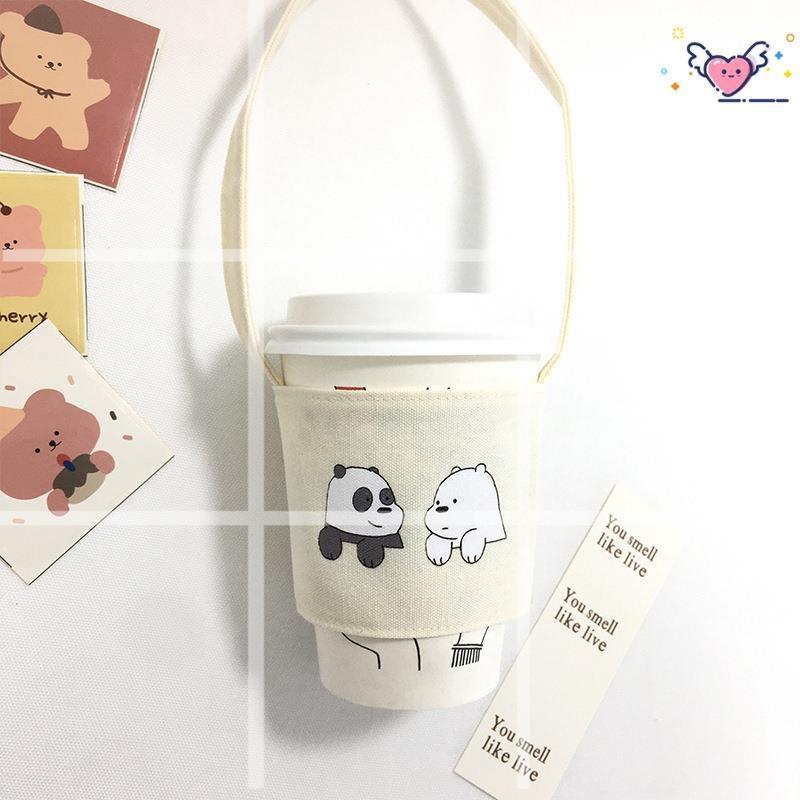 💕【免運】咱們裸熊飲料提袋 環保杯套熊熊遇見你 防水飲料袋 手搖杯提袋 環保杯袋 防水杯套 手提杯套
